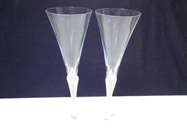 2 Mikasa Sea Mist Trumpet Vogue Cosmopolitan Martini Flutes~~Frosted Stem - $12.95