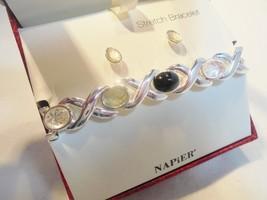 Vintage Bracelet & Earrings SET NAPIER ORIGINAL BOX Pierced Silver Plate... - $4.90