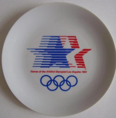 OLYMPICS 1984: Red-White-Blue Stars & Blue Rings Logo Series MINT PLATE