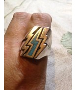 1980's Vintage Large Stainless Steel Size 8 Men's Turquoise Lightning Bo... - $32.73