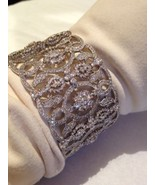 Vintage Style Pave Crystal 92.5 Sterling Silver Filigree Cuff Bangle Bra... - $545.27