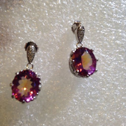 Primary image for Vintage Bohemian Pink Mystic Topaz Sterling Silver Earrings