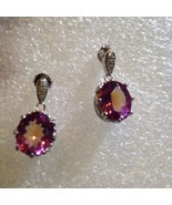 Vintage Bohemian Pink Mystic Topaz Sterling Silver Earrings - £91.76 GBP