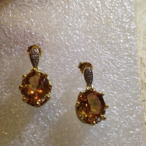Primary image for Vintage Bohemian Golden Topaz Sterling Silver Golden Earrings