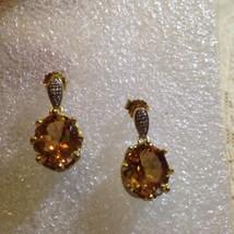 Vintage Bohemian Golden Topaz Sterling Silver Golden Earrings - $116.88