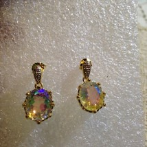 Vintage Bohemian  Mystic Topaz Sterling Silver Earrings - $116.88
