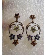 Vintage Deco  Natural Gemstone Flower Sterling Silver Antique Earrings - $126.22