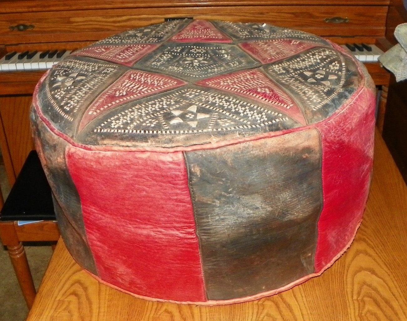 Red Black White Leather Star Stitched Footstool Ottoman