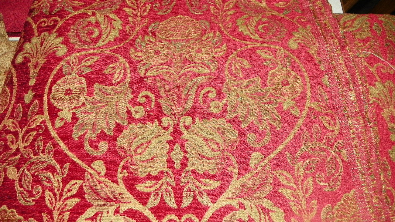 Red Gold Print ChenilleUpholstery Fabric 1 Yard  R782