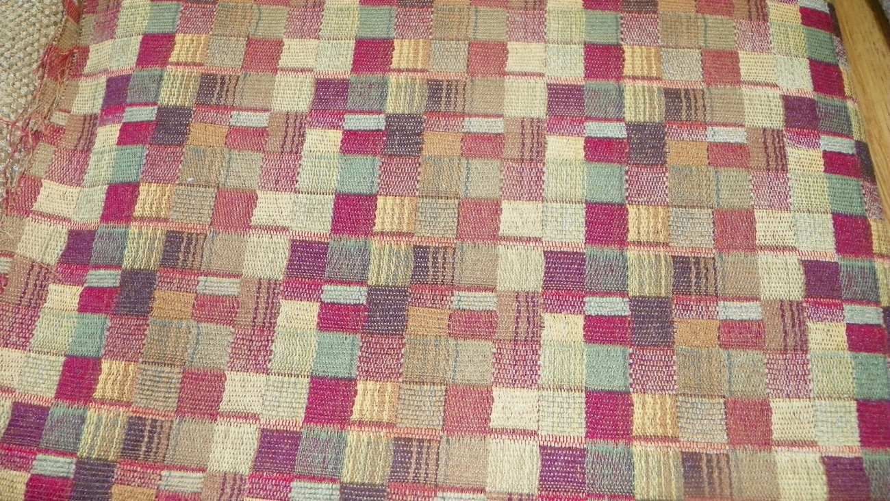 Red Green Gold Plaid Print Jacquard Upholstery Fabric Remnant F756