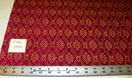 Red Gold Chenille Print Upholstery Fabric Remnant  F1402 - $49.95