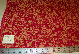 Gold Brick Print Jacquard Upholstery Fabric Remnant  F1400 - $49.95