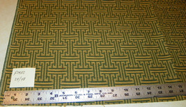 Green Gold Abstract Print Upholstery Fabric Remnant  F1401 - $29.95