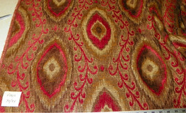 Red Gold Brown Abstract Print Upholstery Fabric Remnant  F1403 - $49.95