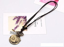 Necklaces Personality Nation Retro Leather Woven Alloy Poker Pendants - One I...