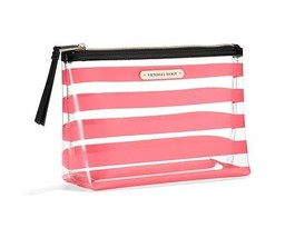 NWT Victoria's Secret Large Clear with Coral Stripes Cosmetic Bag - $17.00