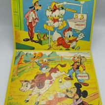 Jaymar Walt Disney Tray Puzzles Lot 2 Goofy Donald Plumber Cowboy Steer ... - $20.91