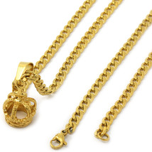 """Men's 14k Gold Tone Stainless Steel Crown Pendant 4mm 24"""" Cuban Necklace... - $19.79"""