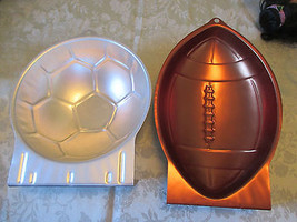 WILTON FOOTBALL & SOCCOR BALL ALUMINUM CAKE PANS - $12.86