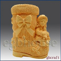 3D Silicone Soap & Candle Mold - Girl on Christmas Boot - $44.54