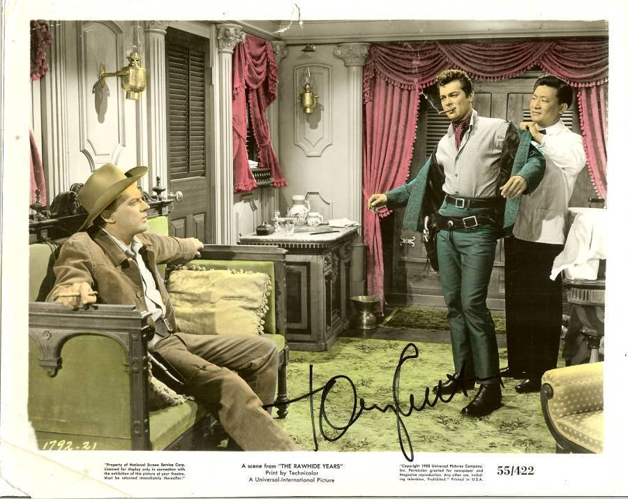 Primary image for 1955 tony curtis autograph lobby card photo movie the rawhide years western