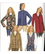 Butterick B5400 Misses Vest and Jacket Sewing Pattern Size 16-24 Uncut - $2.00