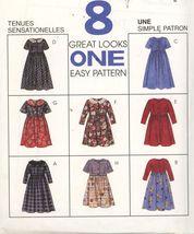 McCalls 8404 Girl's dress - 8 styles 1 pattern easy  Sz 10,12,14 UNCUT - $2.00