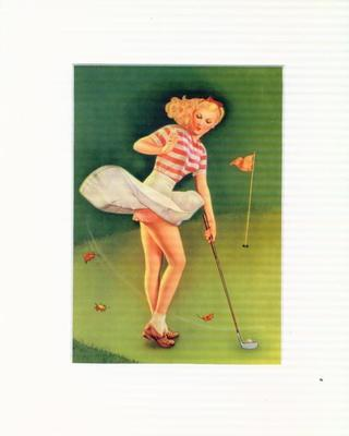 SWINGING IN THE BREEZE: Sexy Golf Pin Up Pinup NEW 8x10 MATTED PRINT