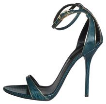 NIB $845 DOLCE GABBANA Blue Green Gold Iguana Print Leather Strappy Sand... - $399.00