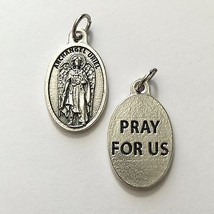 "3/4"" Archangel Uriel Protection Medal Pendant Pray for Us Silver Tone Made Italy - $10.99"