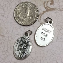 Guardian Angel Catholic Protection Italian Medal Pendant Pray for Us Silver Tone - $6.95