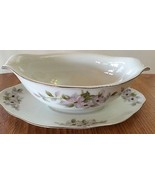 VINTAGE BELLAIRE TRELLIS~GRAVY BOAT & ATTACHED UNDERPLATE~PINK BLOSSOM F... - $17.64