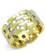 2 TONE SILVER & GOLD 10MM WIDE BAND STAINLESS STEEL FASHION RING SIZE 5 -10 - $12.49