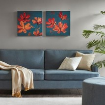 "Luxury 2pc Blue and Orange Magnolia Floral Canvas Wall Art - 20x20"" Each - $75.99"