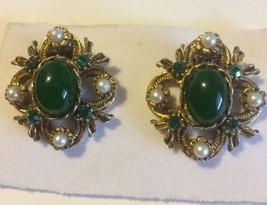 Vintage Coro Faux Jade Rhinestone Faux Pearl Clip Earrings - $9.74