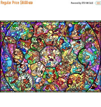 """Counted Cross Stitch  Disney stained glass 35.43""""X25.11"""" L610 - $3.99"""