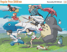 """Counted Cross Stitch  All characters in the wind by Miyazaki 34.29""""X24.64"""" L585 - $3.99"""