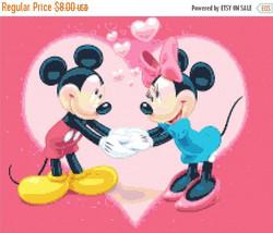 """Cross stitch pattern - Mickey and Minnie in love 15.43""""X12.29"""" L439 - $3.99"""
