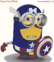 "Cross stitch pattern - minion captain america 10.35""X11.43"" L618 - $3.99"