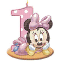 Counted Cross Stitch little lady mouse 1st birthday 94x119 stitches BN252 - $3.99