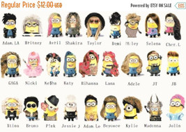 """Counted Cross Stitch  pixel people minions singers 25.57""""X16.64"""" L1042 - $3.99"""