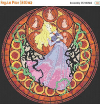 "Cross stitch pattern - Sleeping beauty - stained glass 20.14""X19.85"" L786 - $3.99"