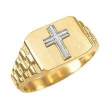 10k Gold Mens Religious Cross Ring (size 6.25) - $219.99