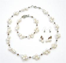 Unique Bridal Jewelry Freshwater Pearls Smoked Topaz Crystals Set - $28.33