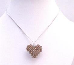 Brown 3D Puffy Heart Smoked Topaz Swarovski Crystals Pendant Necklace - $26.38