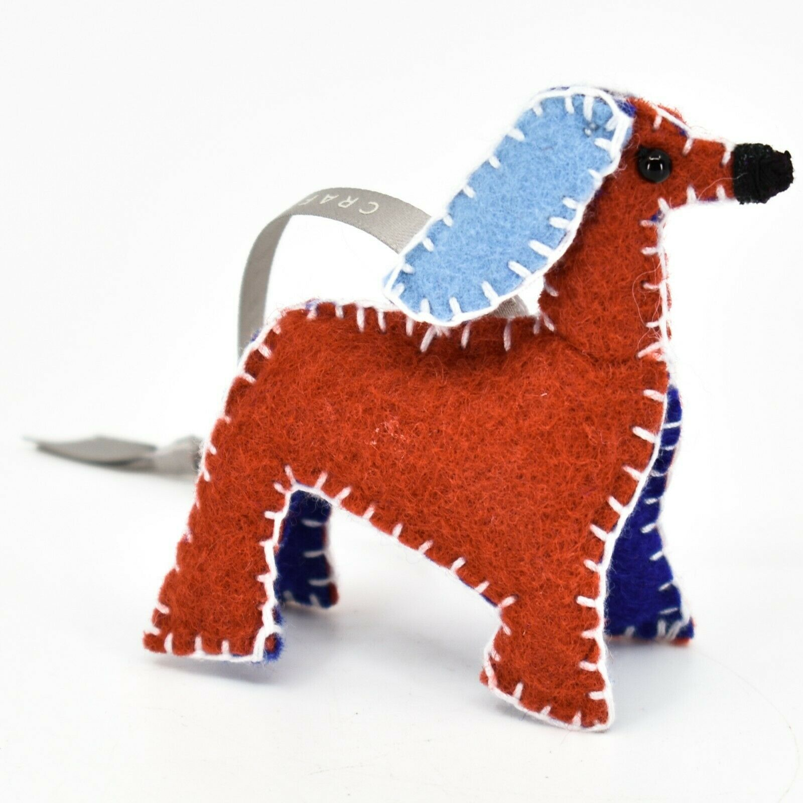 Made 51 Handcrafted Afghan Hound Dog Felt Ornament Refugee Malaysia Folk Art