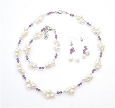 Handcrafted Austrian Crystals Amethyst Freshwater Pearls Necklace Set - $32.88