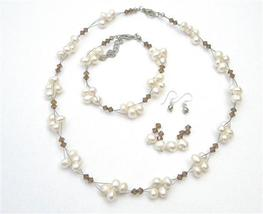 Handmade Artisan Smoked Topaz Crystals Freshwater Pearls Necklace Set - $32.88