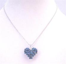 Morion AB 2X 4mm Crystal Puffy Heart Pendant Romantic Stunning Pendant - $26.38