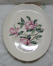 Vintage Homer Laughlin Rhythm Large Oval Platter // Pink Magnolias // Retro - $10.50